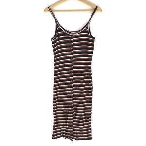 AEO DAW Black Rust Stripe Ribbed Button Midi Dress